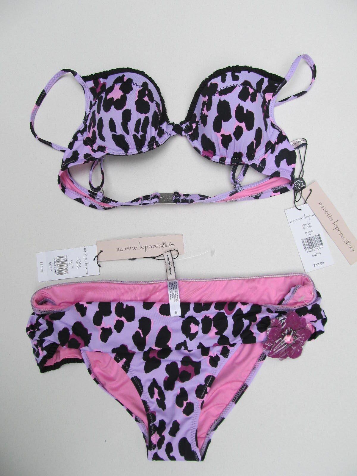 Nanette Lepore Womens Bikini 2 Pc Bathing Suit Purple Leopard Small NWT
