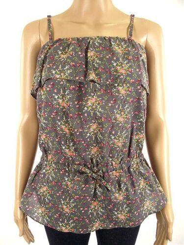NEUF femme NAF NAF été à volants à bretelles cami gris rose floral top 8 36 10 38