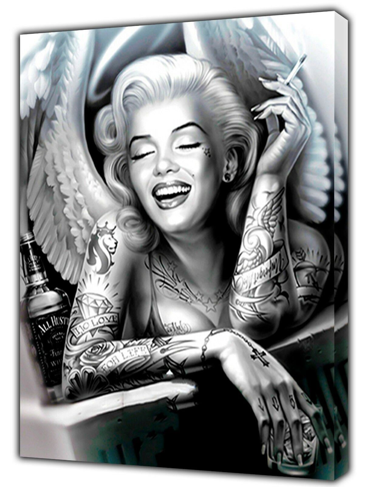 MARILYN MONROE Evil Angel foto con Stampa Su Tela Incorniciato Wall Art Decor