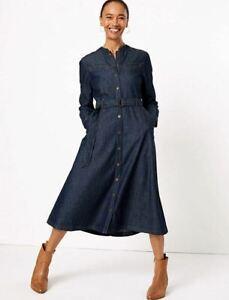 M-amp-S-Marks-Spencer-Collection-Womens-Dark-Denim-Belted-Shirt-Pocket-Midi-Dress