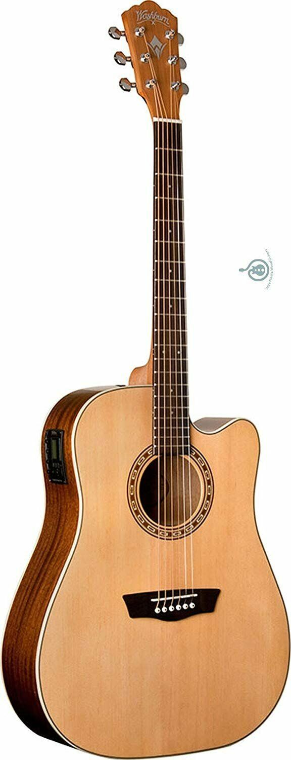Washburn 6 String Acoustic-Electric Guitar, Natural Gloss (WD7SCE-O)