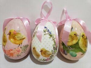 Primitive-Vintage-Style-Easter-LARGE-Chick-Egg-Tree-Ornaments-Decor-Set-of-3