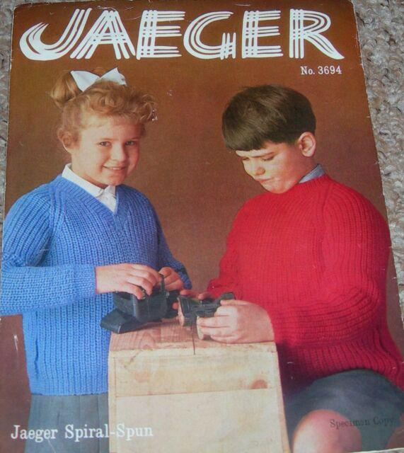 Original Vintage Jaeger Knitting Pattern Childrens Ribbed Raglan