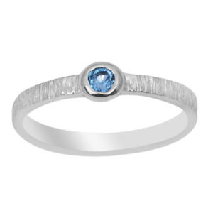 Stacking-Blue-Topaz-925-Silver-Hammered-Finish-Ring-Stackable-Women-Wedding-Band