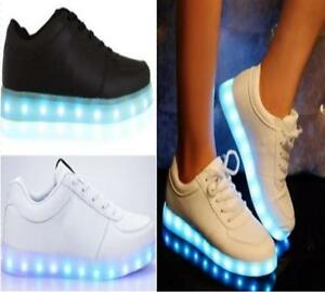 LADIES WOMENS LIGHT UP LED LUMINOUS LACE UP TRAINERS CELEB SNEAKERS ... d12489c1f