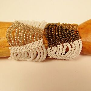 Set-of-2-Pearl-White-Gold-Multi-Strand-Handmade-Swag-Stretch-Seed-Bead-Bracelets