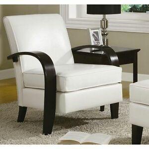 Accent Chair White Bonded Leather With Wood Arms Padded Seat Cushion Club Chairs
