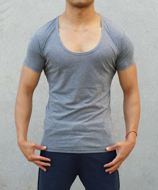 NEW MENS PLAIN CHARCOAL DEEP SCOOP NECK T SHIRT SLIM MUSCLE GYM TANK S - XXL HOT