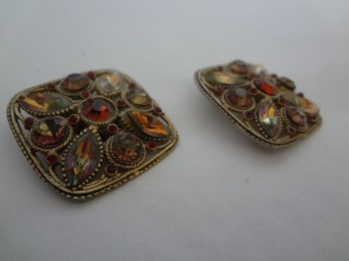 Stunning Vintage 70-80s Amber Lucite Gold Tone Clip On Earrings