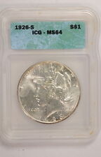 1926 S US Peace $1 One Silver Dollar Certified Coin ICG MS64