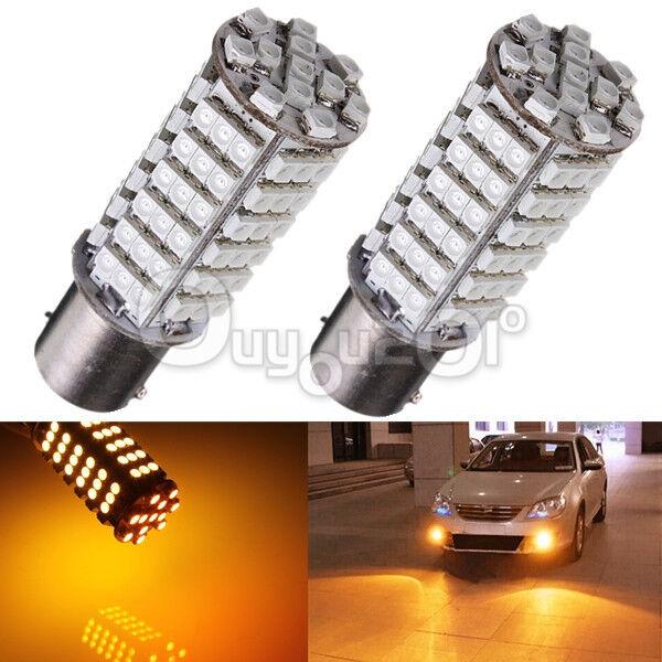2X Amber Yellow 1156 P21W Ba15s 102 3528 LED Tail Fog Head Signal Light Bulb 12V