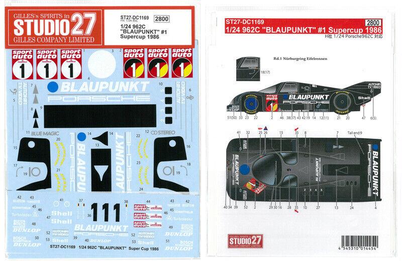 Studio27 1 24 Porsche 962c Blaupunkt  1 Supercup 1986 für F Dc1169 Abziehbild