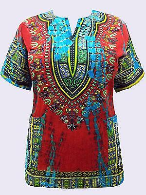 EaonPlus Embroidered Tie-Dye Hippy Boho Caftan Top SIZES 16-28 Dark Red