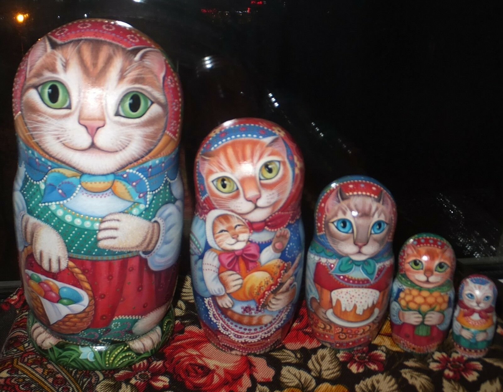 Russian matryoshka doll nesting babushka beauty Cats Easter handmade exclusive