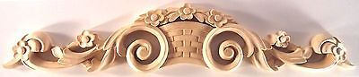 "24""W x 4 3/4""H x 1""TH,  Hand Carved Solid Wood Applique Onlay Corbel, OW703"