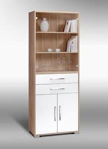 schrank aktenschrank mehrzweckschrank mod mj427 sonoma eiche wei hochglanz ebay. Black Bedroom Furniture Sets. Home Design Ideas
