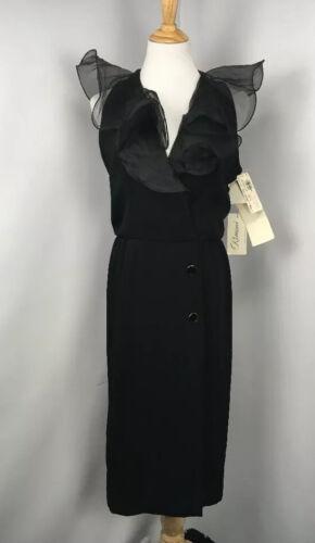 Vtg 80s 90s NWT Rimini Black evening gown dress fr