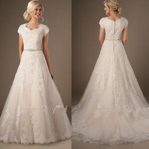 9d4199c93d Modest Lace Short Sleeve Wedding Dress Garden Bridal Gown Custom 4 6 ...