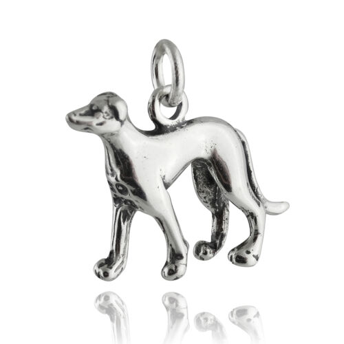 Greyhound Dog Charm-Argent Sterling 925-fast Race Pet RUNNING CHASSE NEUF