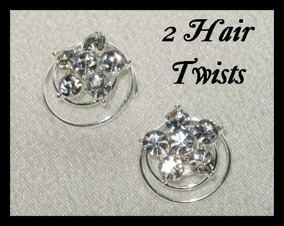 2 SILVERTONE HAIR TWISTS CLEAR CRYSTALS SAVE on COMBINE SHIPPING DISCOUNT!