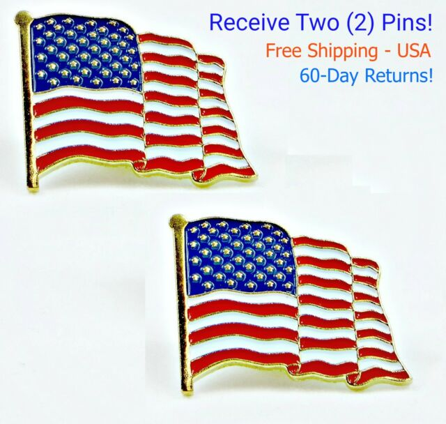 High Quality American Waving Flag Lapel Pins Patriotic US U.S USA U.S.A. 18