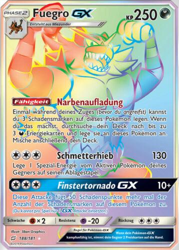 Pokemon Karte Rainbow HoloFuegro GX DE Incineroar GX 188//181 Hyper