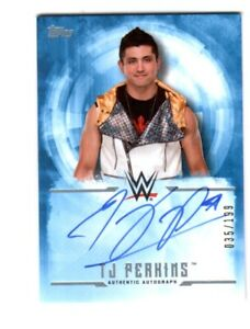 WWE-TJ-Perkins-2017-Topps-Undisputed-Blue-On-Card-Autograph-SN-35-of-199