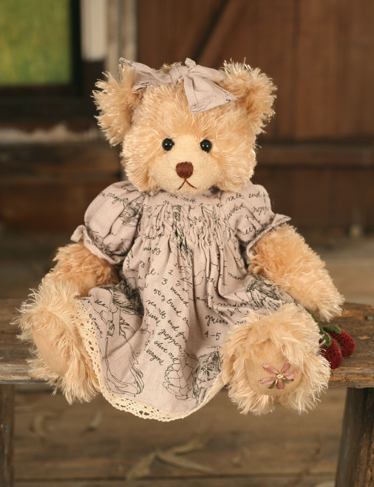 Teddy Bear 'Maisie' Settler Bears Handmade Linen Dress Collectable Gift 38cms
