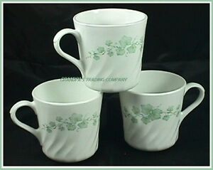 3 corning corelle callaway ivy coffee tea cups mugs made in usa