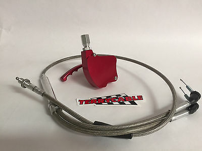 Banshee Steel Braided 2 to 1 Thumb Throttle Cable 33-39 Carb Chariot Trinity CV