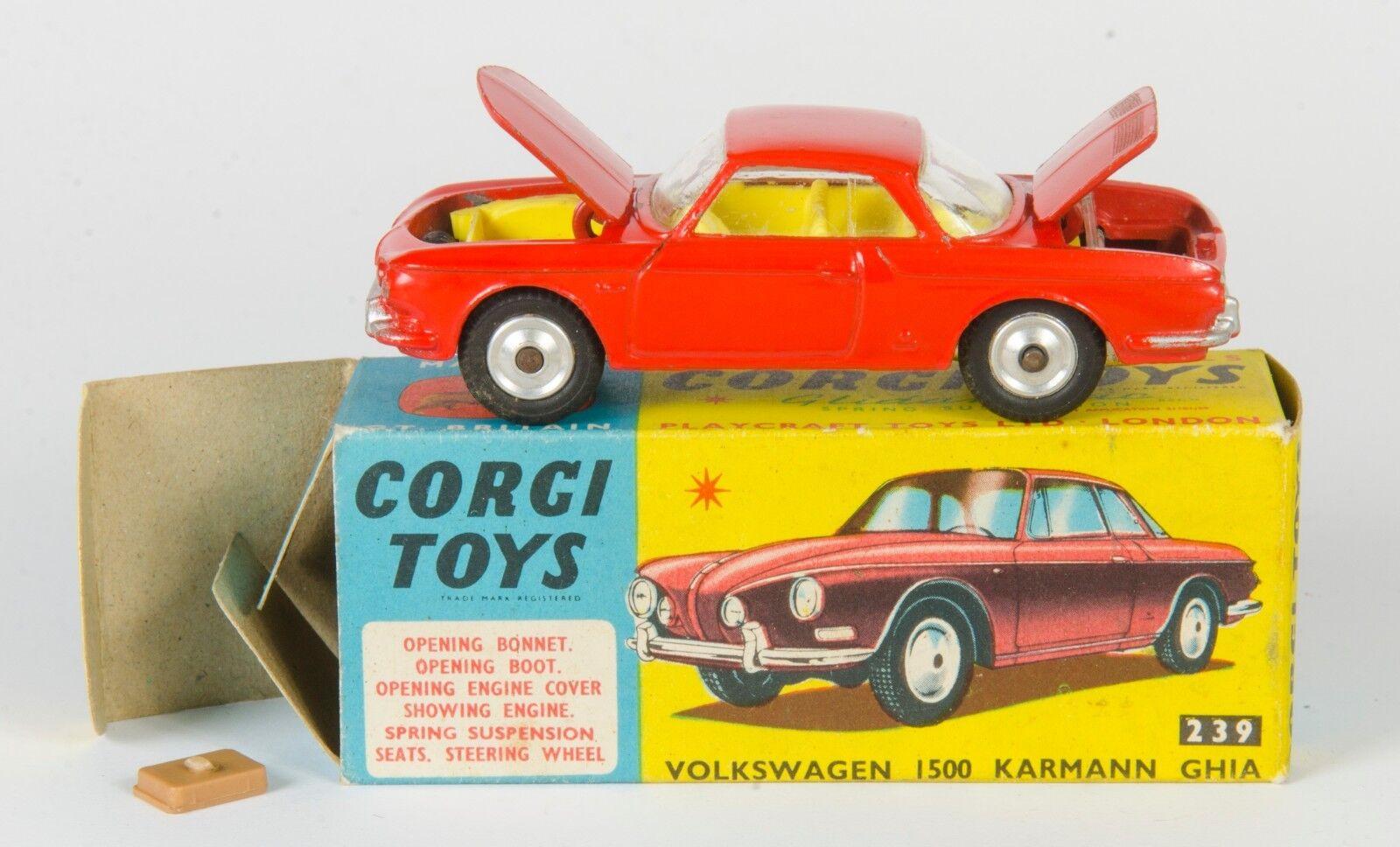 Corgi 239 Volkswagen 1500 Karmann Ghia. arancia. década De 1960 problema en caja.