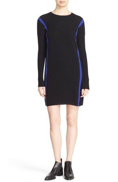 NEW Autumn Cashmere Stripe Cashmere Sheath Dress-schwarz Pennet S