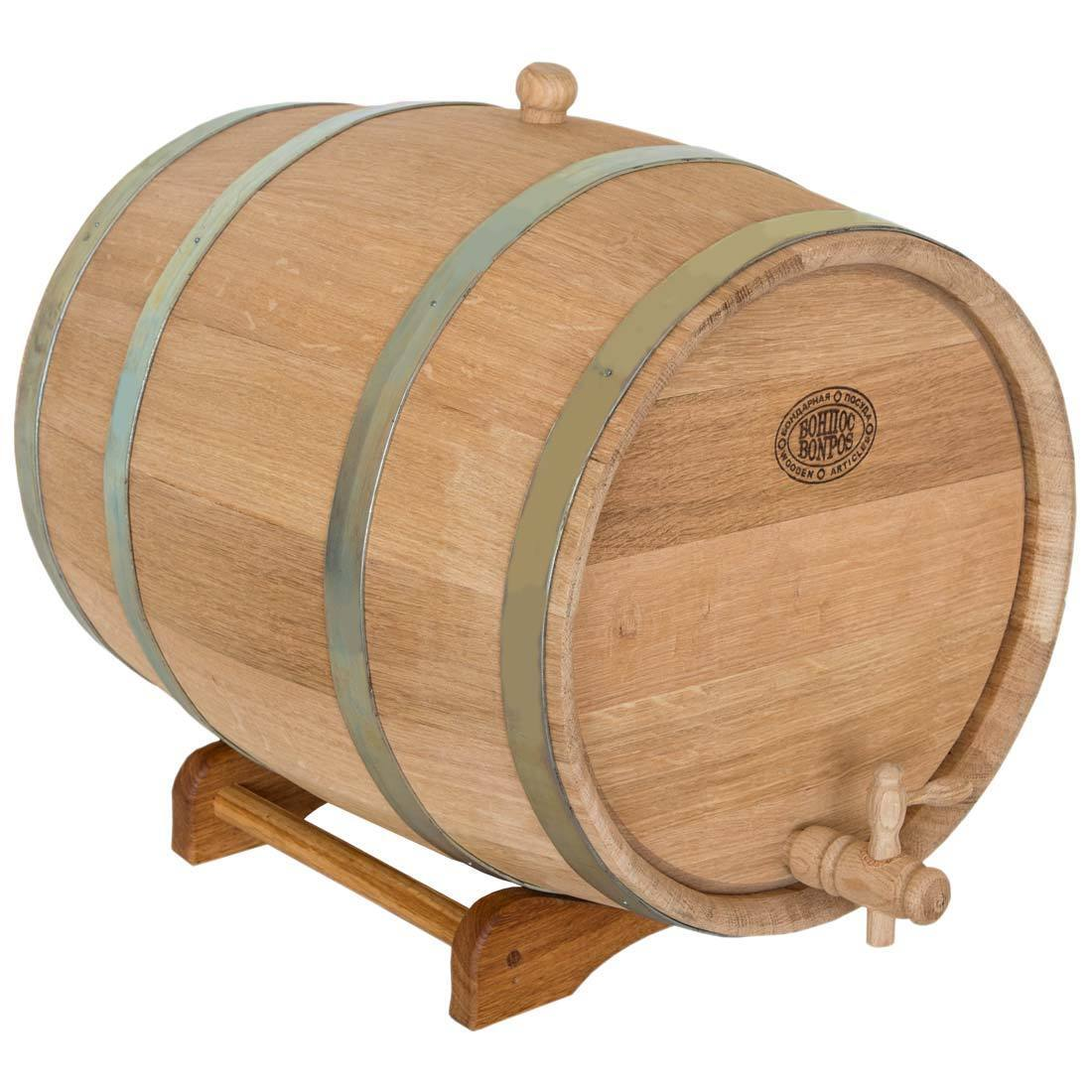 3L-Brown Stainless Steel Liner Durable Oak Wood Home Bar Wine Barrel Keg Container for Beverage Beer Whiskey