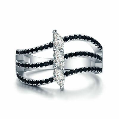 Damen Ring 925 Sterling Silber Black Spinell Zirkonia Aaa 18 K Weißgold Verg