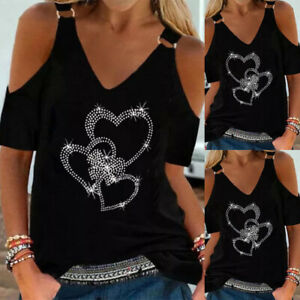 ❤️Womens Hot Drilling Cold Shoulder Casual T-Shirt Tunic Top Short Sleeve Blouse