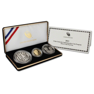2013 5-Star Generals Commemorative Three Coin Gold & Silver Proof Set