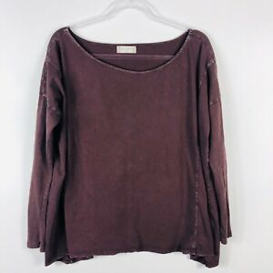 Altar-039-d-State-Size-Small-Oversized-Purple-Long-Sleeve-Top-Scoop-Neck-Casual
