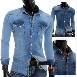Herren-Western-Shirt-dick-Denim-blau-dehnbar-Baumwolle-Slim-Fit-Washed-Langarm
