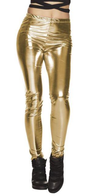 2af34889566af Gold Glance 80s Leggings Ladies Fancy Dress Shiny Disco Adults ...