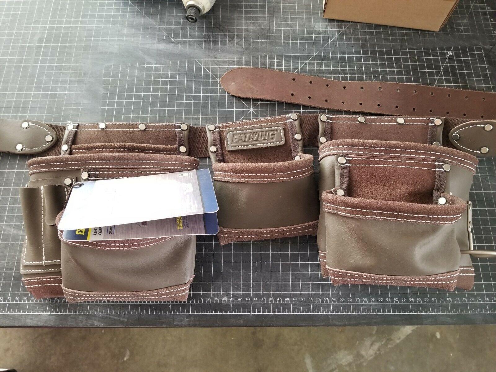 Estwing 7 Pocket Leather Tool Belt Pouch Apron Set 94744