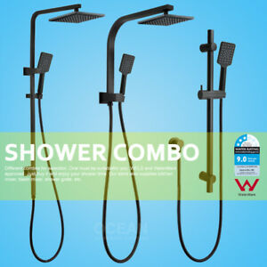 Matt-Black-Square-Brass-8-039-039-Shower-Head-Sliding-Rail-3-Mode-Handheld-Connector
