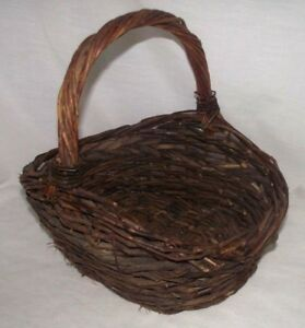Basket-Rustic-Twig-Grapevine-Handle-Dark-Wood-Natural-Vine-Country-Cottage-Woven