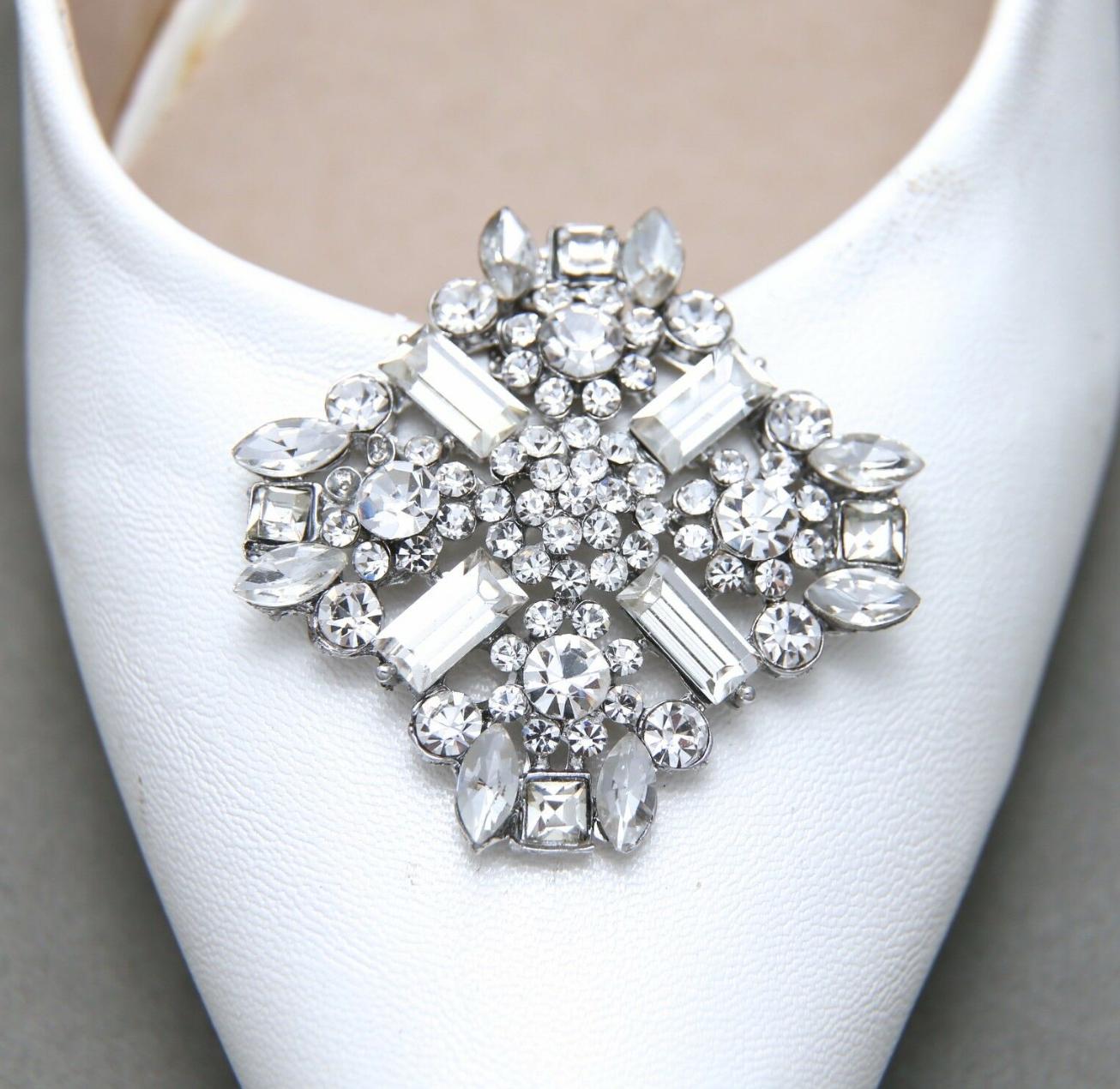 2 Pcs Vintage Style Rhinestone Wedding Bridal Diamante Crystal Silver Shoe Clips