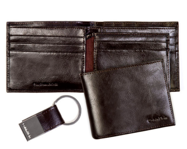 MENS CALVIN KLEIN BROWN GENUINE LEATHER GLOSSY BILLFOLD WALLET & KEY FOB GIFTSET