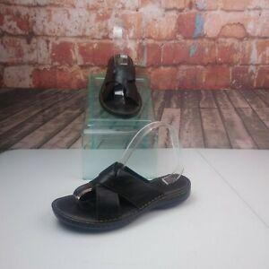B.O.C. Black Leather Sandals Size 9