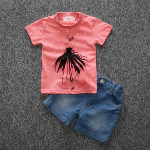 2Pcs Baby Girls Short Sleeve T-Shirt Tops Jeans Shorts Set Kids Clothes Outfits