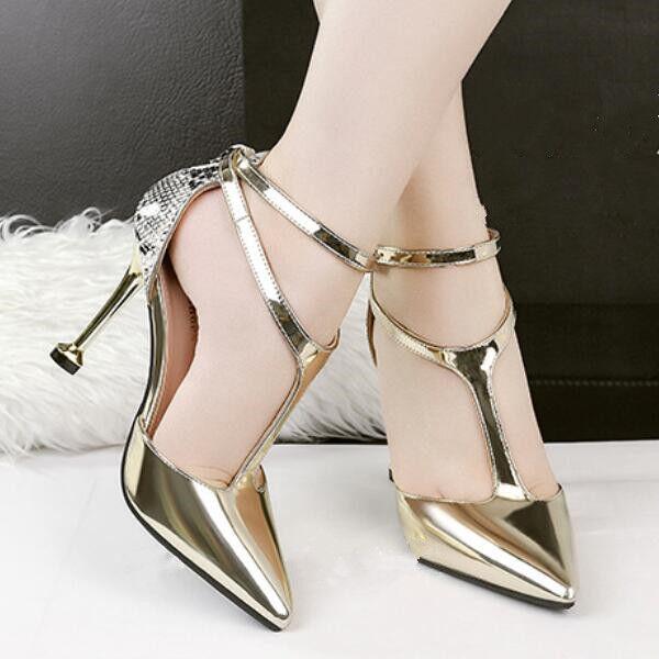 sandalias zapatos de salón mujer 10 cm elegantes tacón de aguja oro brillante