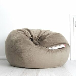 Fur Beanbag Large Mocha Velvet Cover Cloud Chair Bean Bag