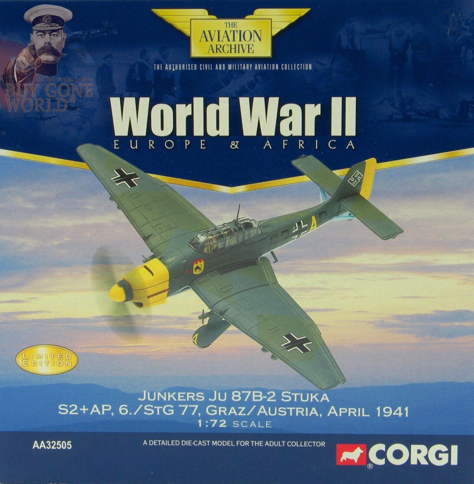 Corgi Aviation AA32505 Junkers Ju 87B Stuka 6. StG 77 Graz, Austria,1941 LE 0009