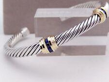 David Yurman Blue Sapphire Double Station Bracelet in Sterling Silver & Gold